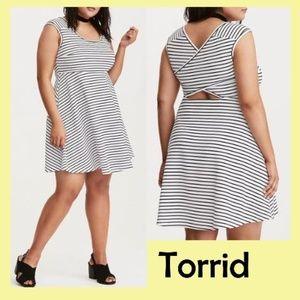 Torrid Striped CrossBack Skater Dress